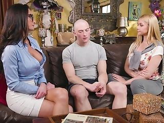 Breathtaking Threesome On The Couch With Sarah Vandella & Silvia Saige