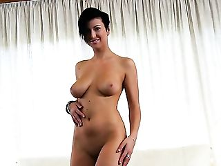 With Big Fun Bags And Trimmed Cunt Touches Her Love Tunnel