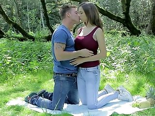 Youthful Chesty Brown-haired Is Making Love With Her Bf In The Heart Of Nature