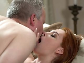 Older Man Is Seduced By Charming Ginger-haired Candy Crimson And Sucked In Sixty-nine