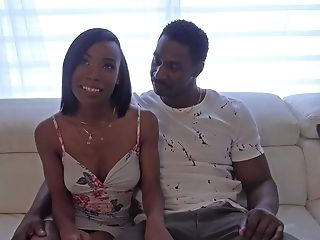 Hot Dark-hued Nubile Ivory Logan Fucks Her First-ever Big Black Cock!