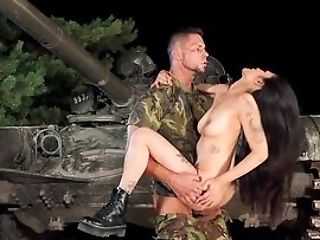Army Man Fucks The Buxom Asian Fuckslut In Crazy Manners