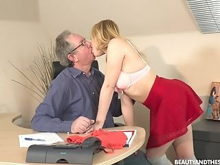 Older Man Seduced By His Junior Assistant Rebecca Black For Fuck-a-thon