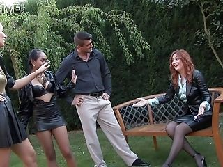 Dirty Fucking In The Back Yard With Clothed Glamour Porn Industry Stars