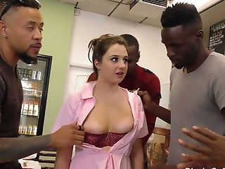A Few Black Studs Fuck All Fuck Holes Of Sweet Looking Waitress Elektra Rose