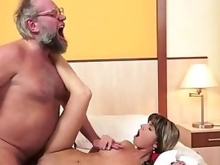 Petite 18yo Euro Gets Facialized By Oldman