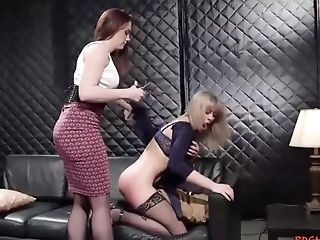 Servant Blonde Strap-on-fucked