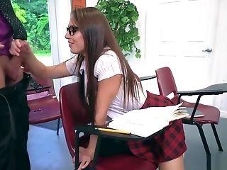 Super-naughty Black-haired Teenage Aidra Fox Fucks A Horny Instructor