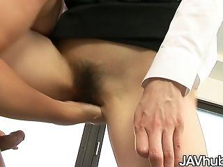 Javhub Rika Makes Her Employee Fuck Her Hairy Cunny