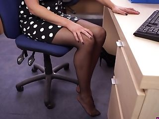 All Alone Office Uber-cute Sweetheart Relaxes At Work While Taking Off Her Pantyhose